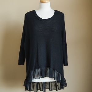 American Eagle Black Frill Sweater